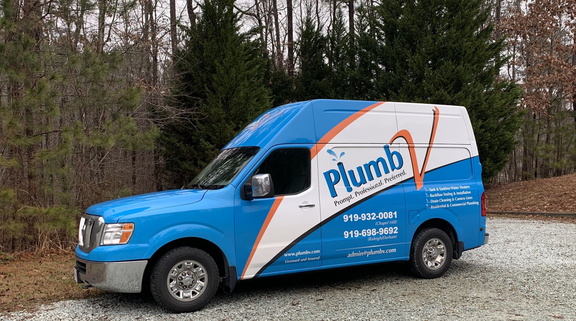 You'll see these new PlumbV Trucks around the Raleigh, Durham, and Chapel Hill areas.